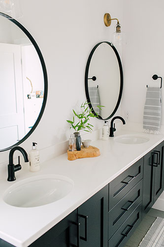 Black and white craftsman bathroom in a custom home